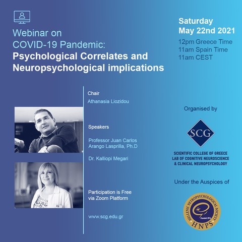 Webinar on COVID-19 Pandemic: Psychological Correlates and Neuropsychological Implications | May 22nd 2021